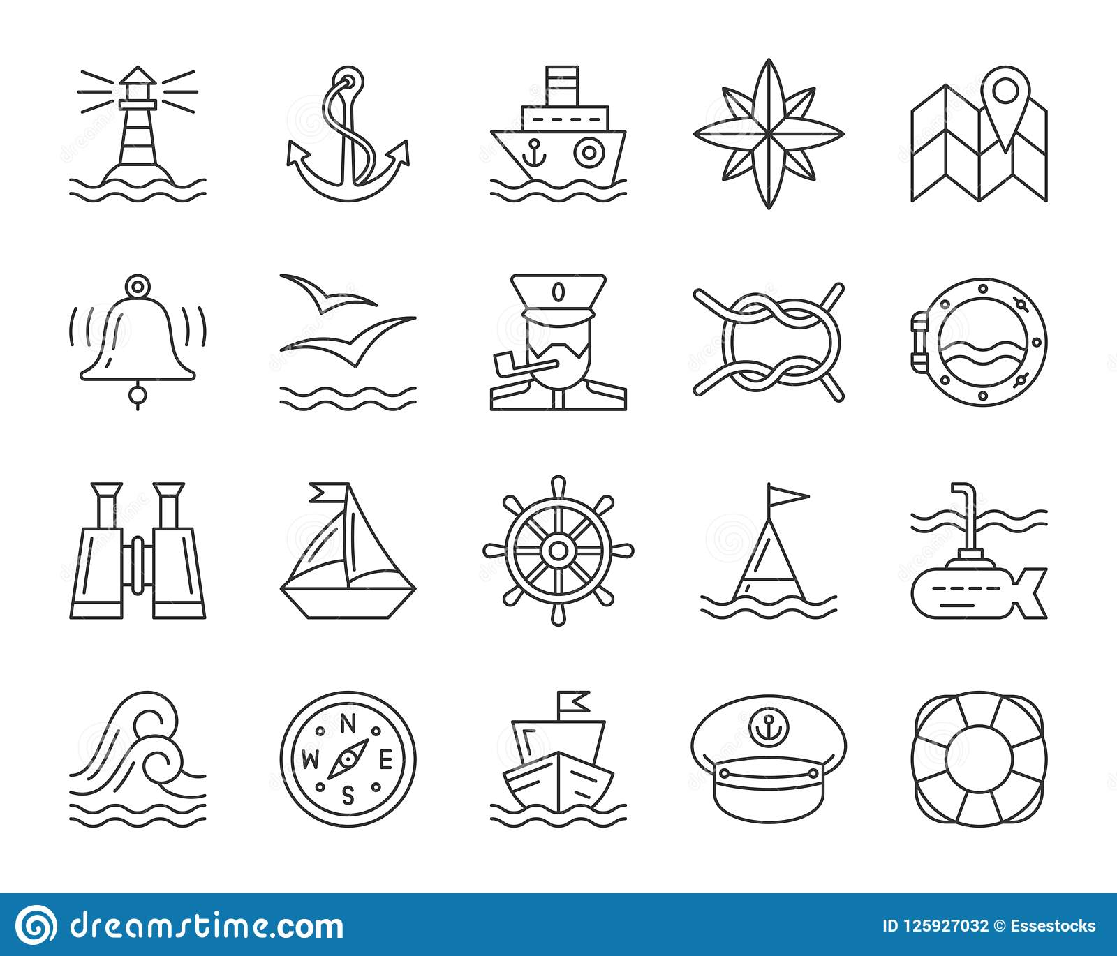 Marine simple black line icons vector set