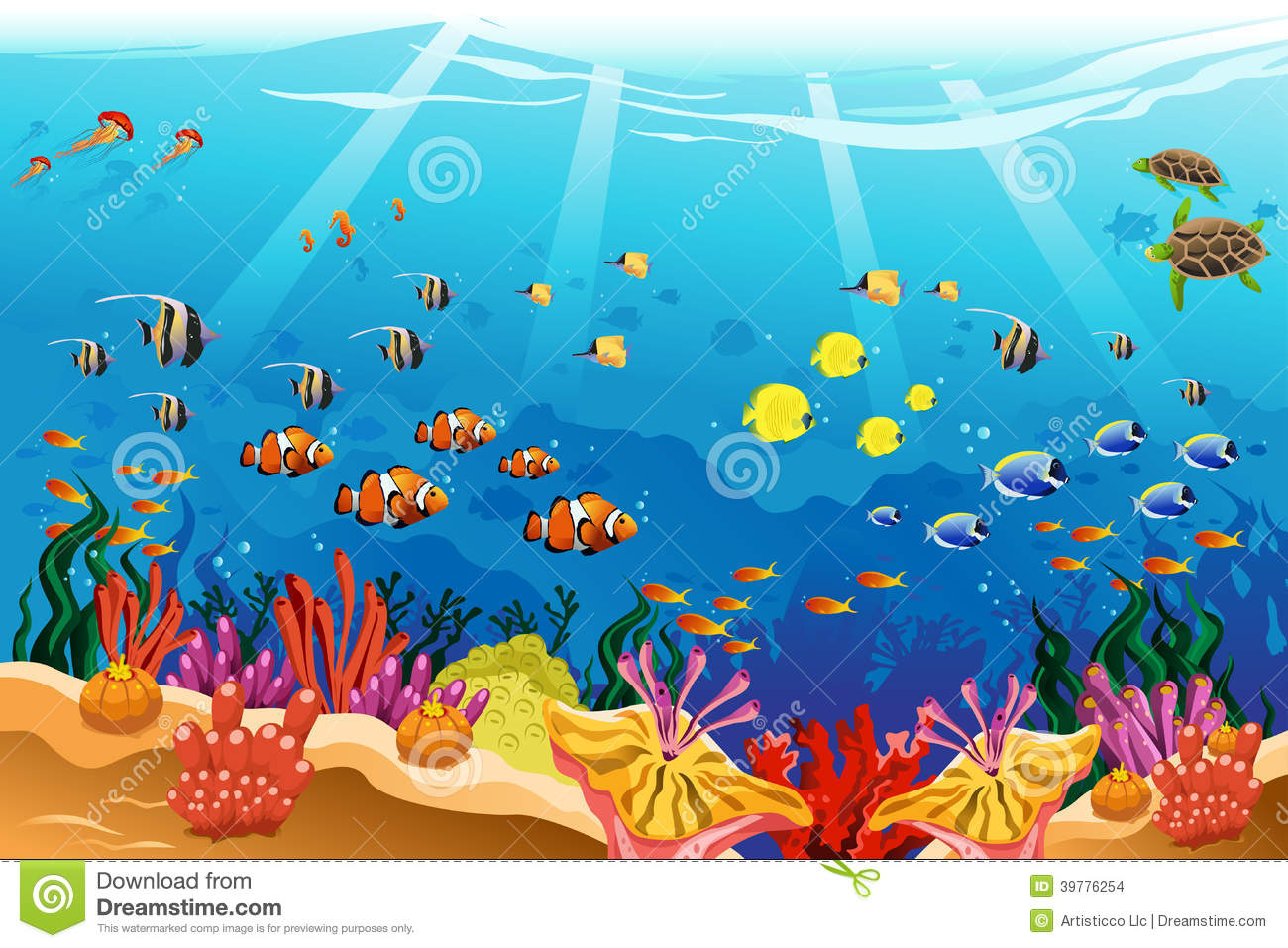 Marine underwater scene stock vector. Image of art ...