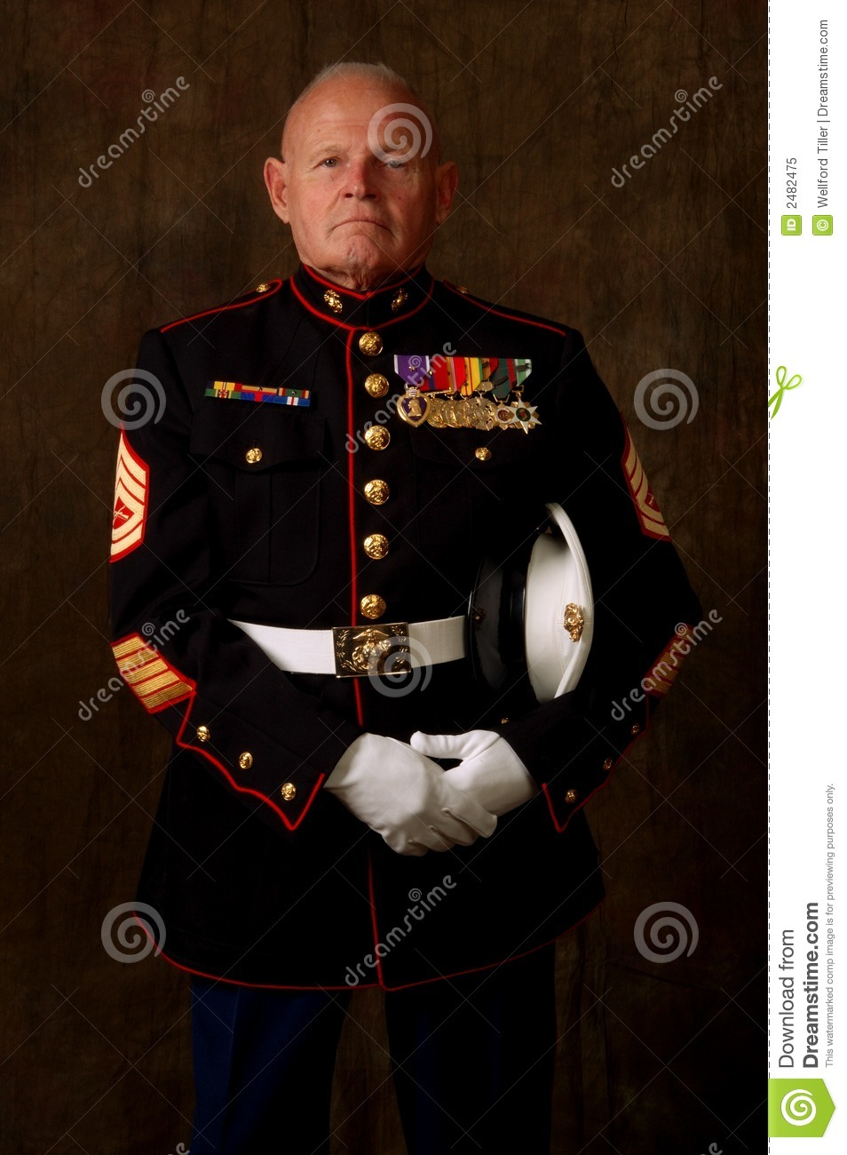 Vertical image of an older Marine Veteran in full dress uniform.