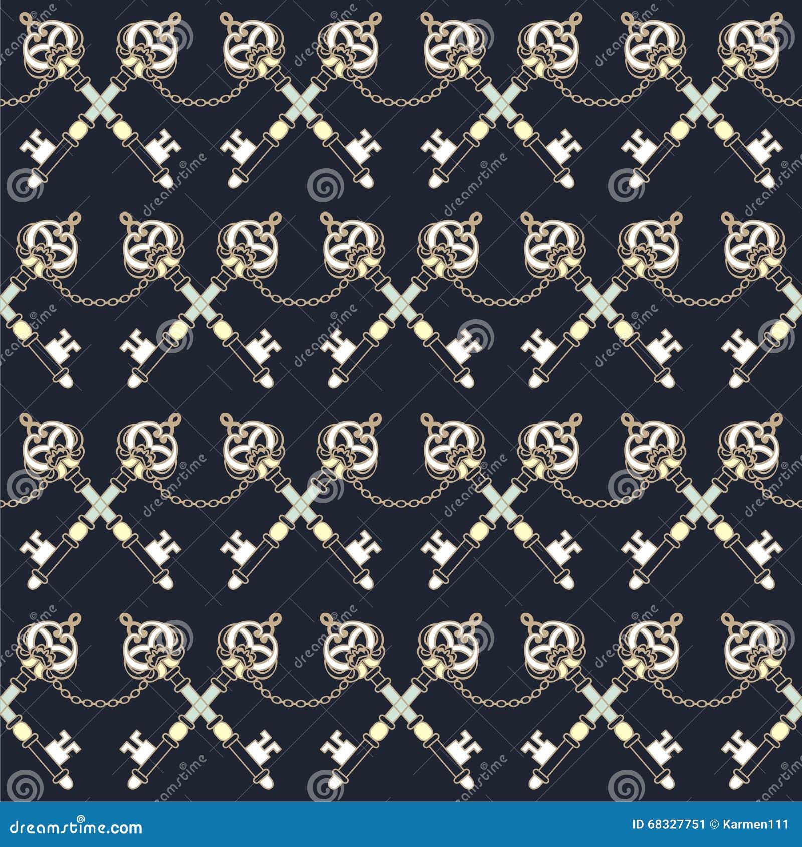 Marine vintage keys and decorative fashion fabric seamless for Fashion fabrics