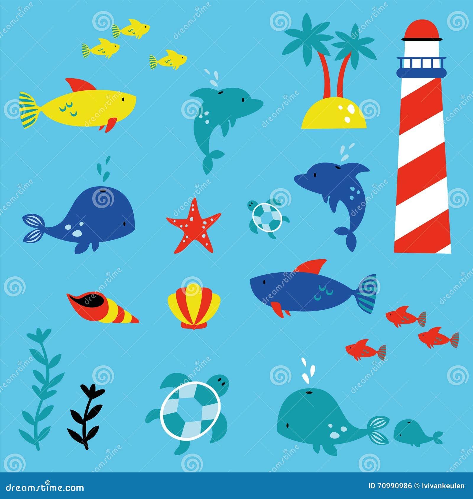 Marinelife children style illustration set