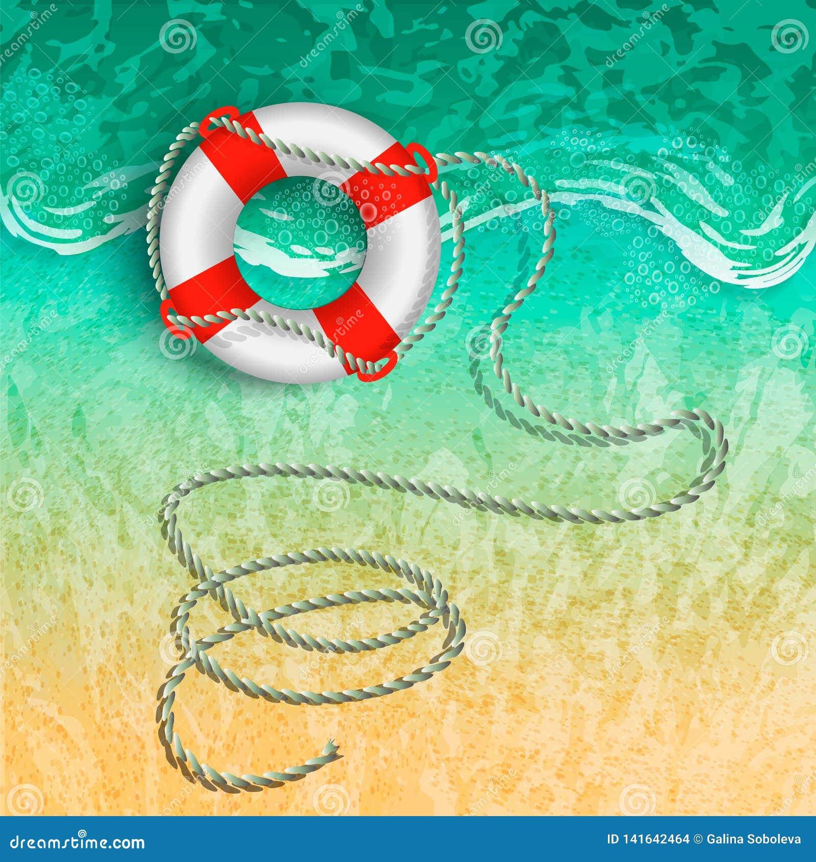 Marinerettungsring mit einem Seil auf dem Strand nahe der Brandung