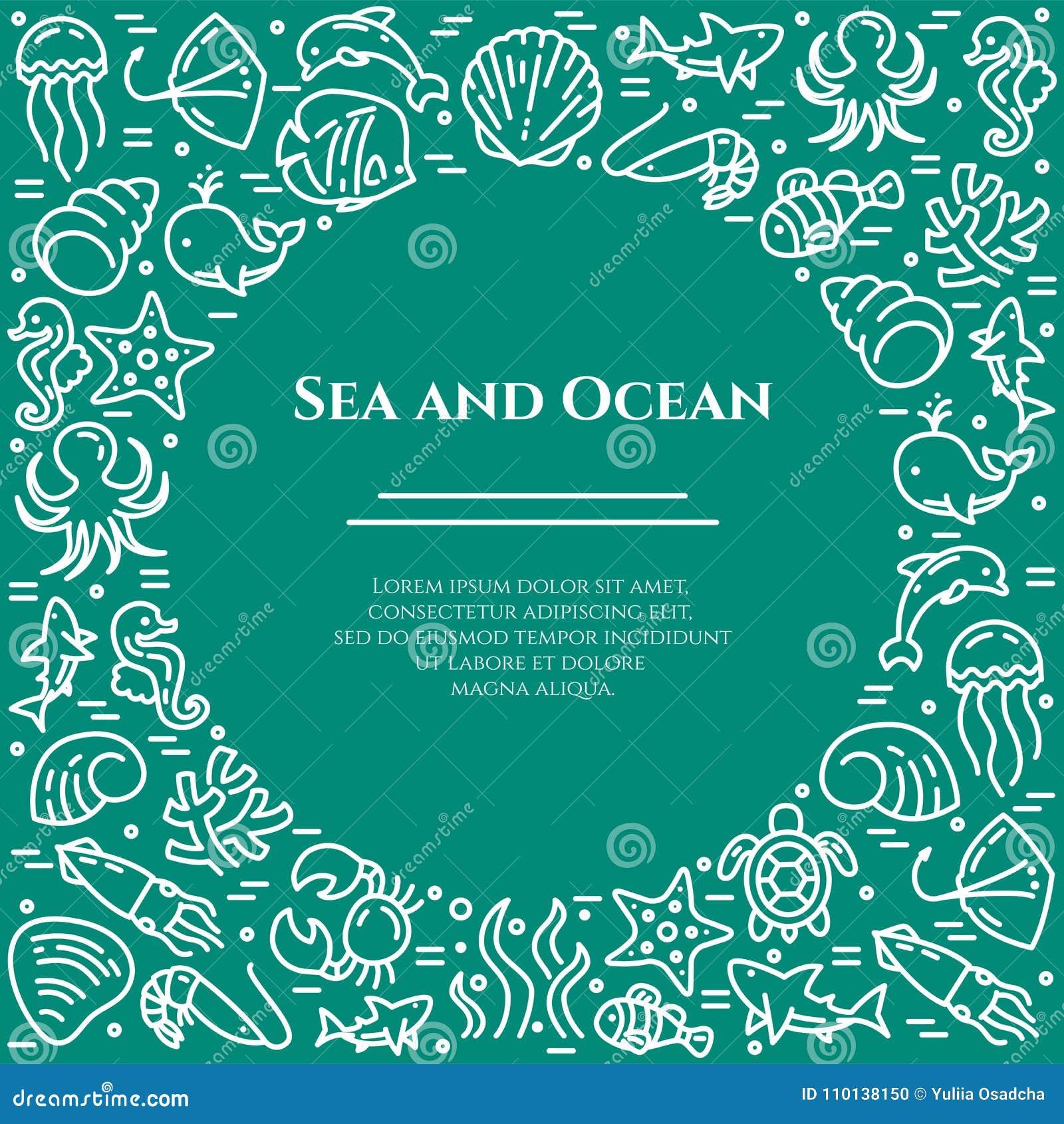 Marinethemaaquamarin und weiße Fahne Piktogramme von Fischen, Oberteil, Krabbe, Haifisch, Delphin, Schildkröte, andere Meerestier
