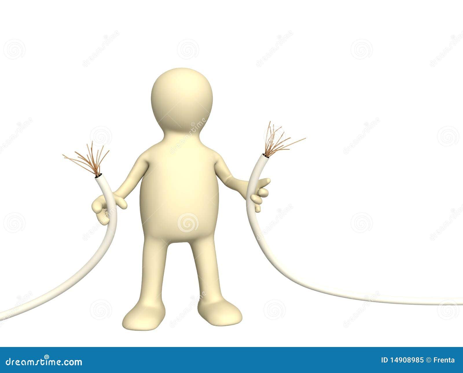 Marionnette avec le fil abrupt