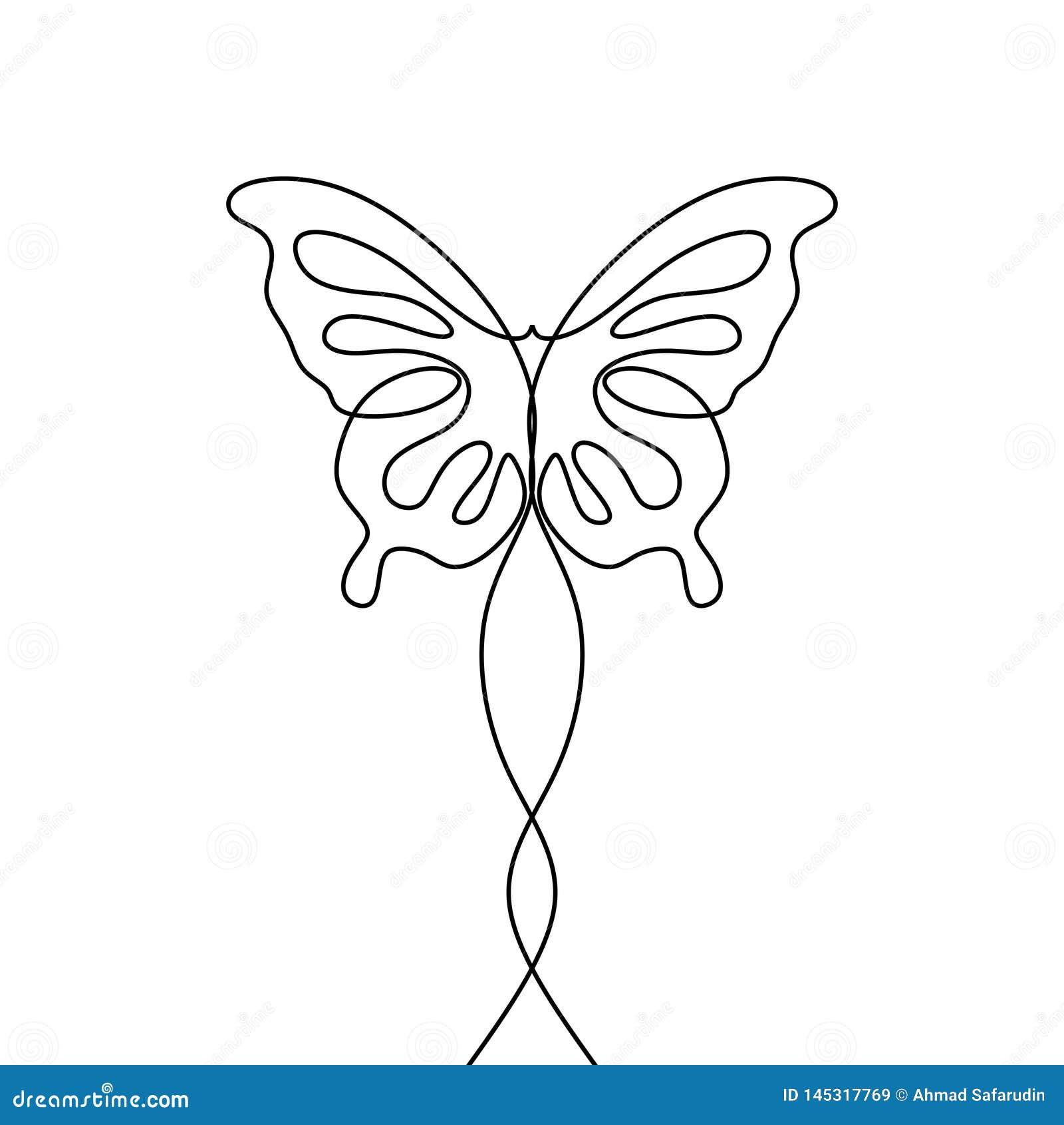 Mariposa con los modelos en elemento continuo del dibujo lineal de las alas el un aislado en el fondo blanco para el logotipo o d