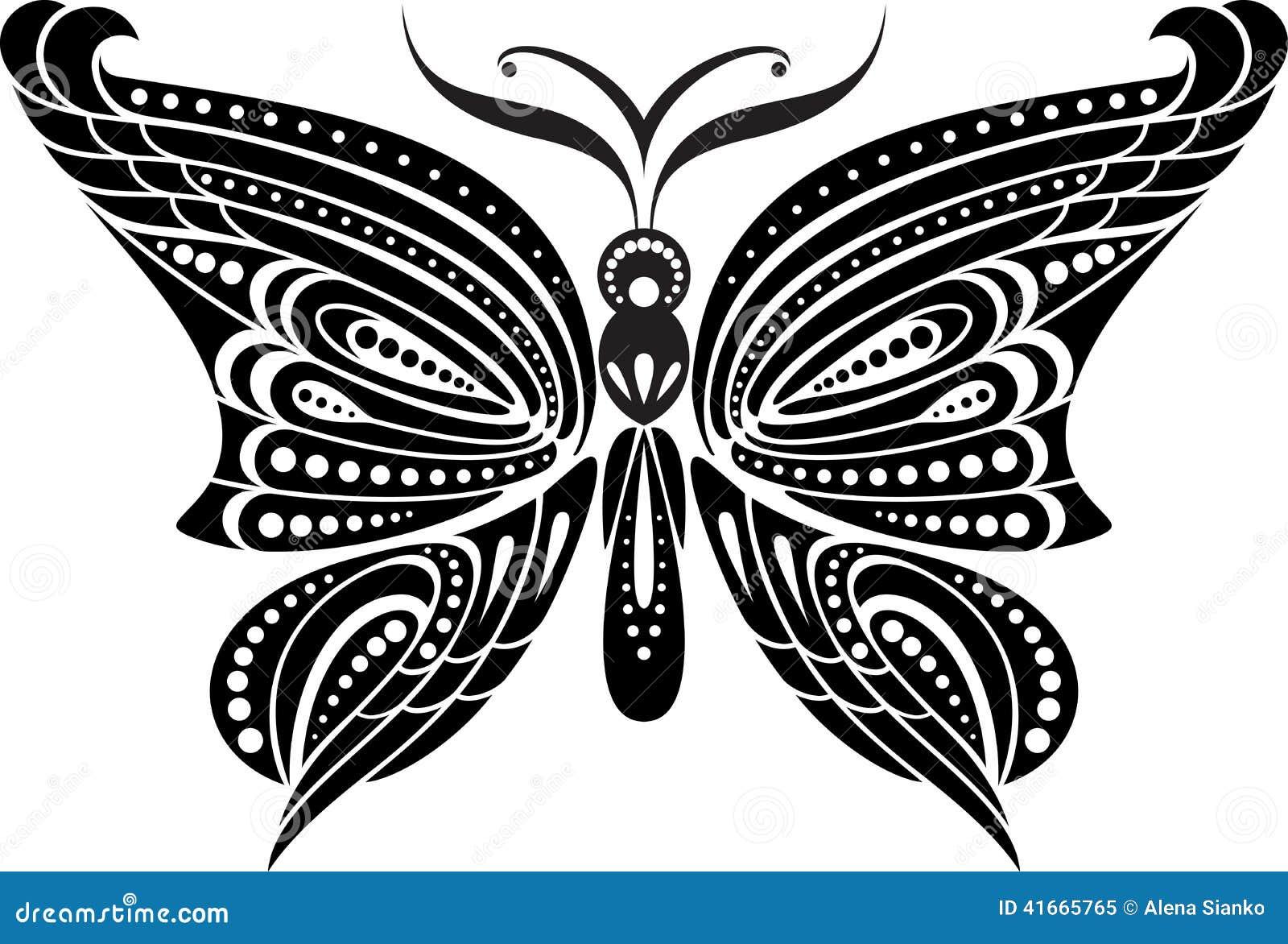 Mariposa De La Silueta Con Las Alas Delicadas Dibujo Blanco Y Negro