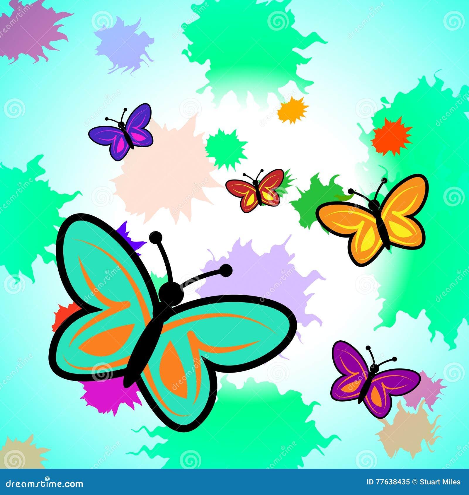 Mariposa De Las Demostraciones Coloridas De Las Mariposas Y Colorido