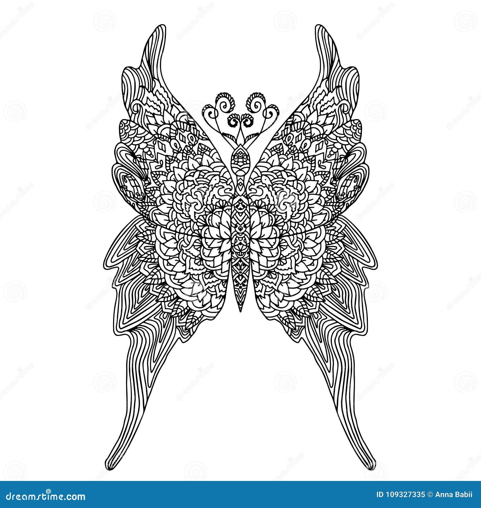 Mariposa En El Estilo De La Mandala Para El Libro De Colorear De Los ...