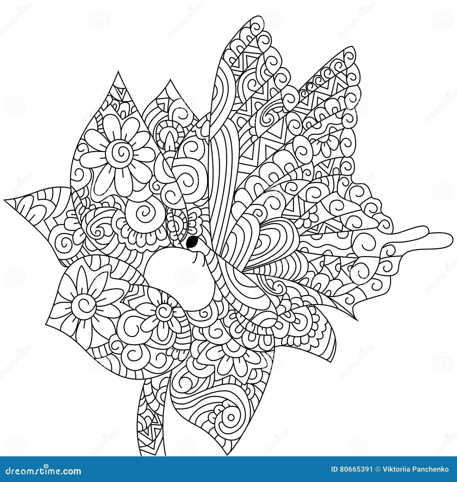 Mariposa En Un Vector Del Libro De Colorear De La Flor Para Los ...