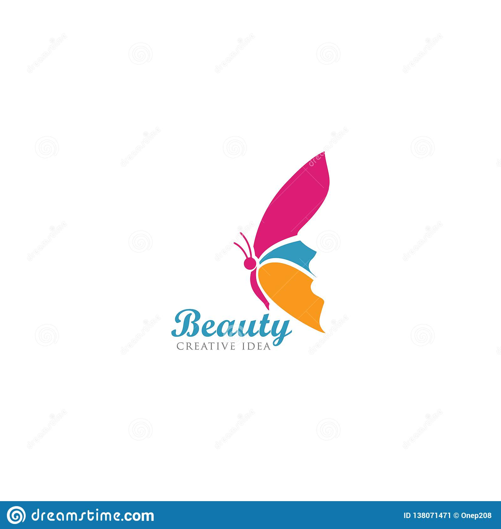 Mariposa hermosa con la plantilla del logotipo de la cara de las mujeres