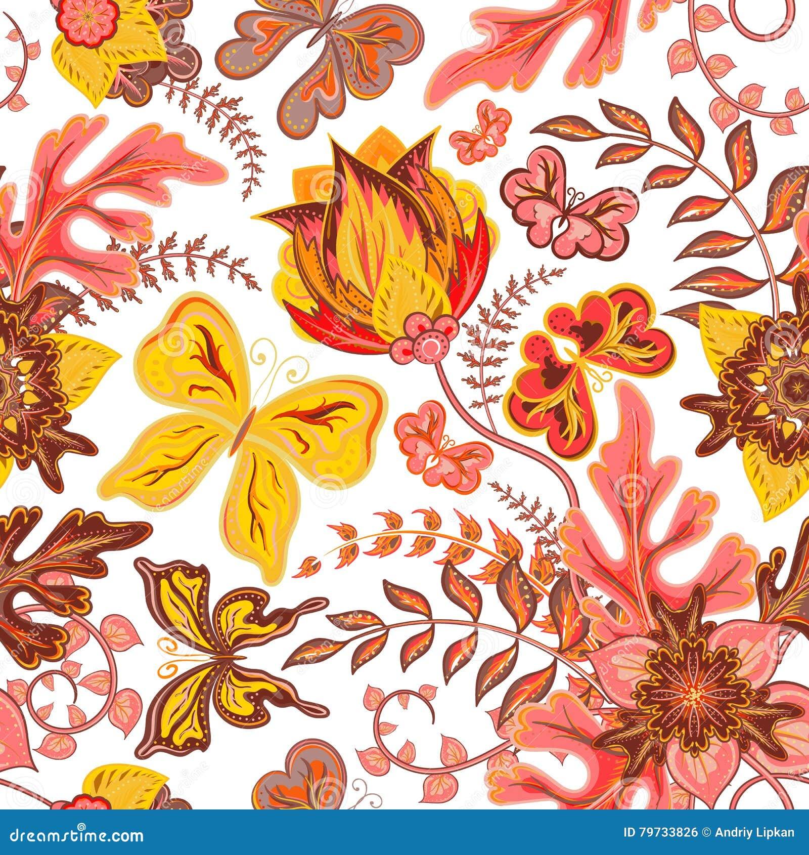 Mariposa inconsútil del drenaje de la mano con el estampado de flores en el fondo blanco