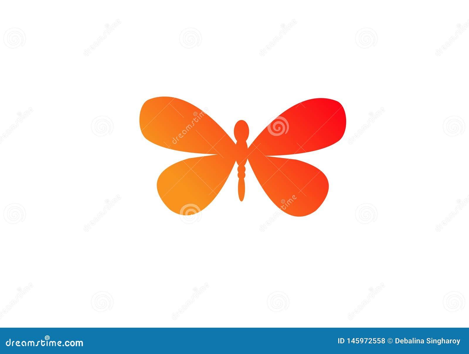 Mariposa Logo Template forma y color simples o