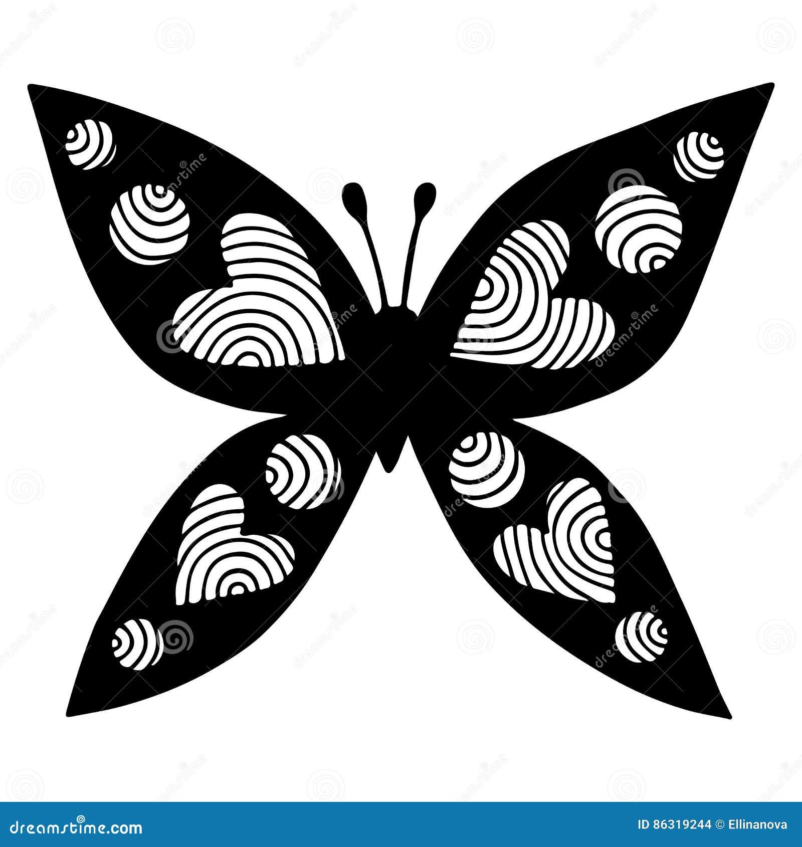 Mariposa Negra Con El Corazón En El Ala Para El Tatuaje, Libro De ...