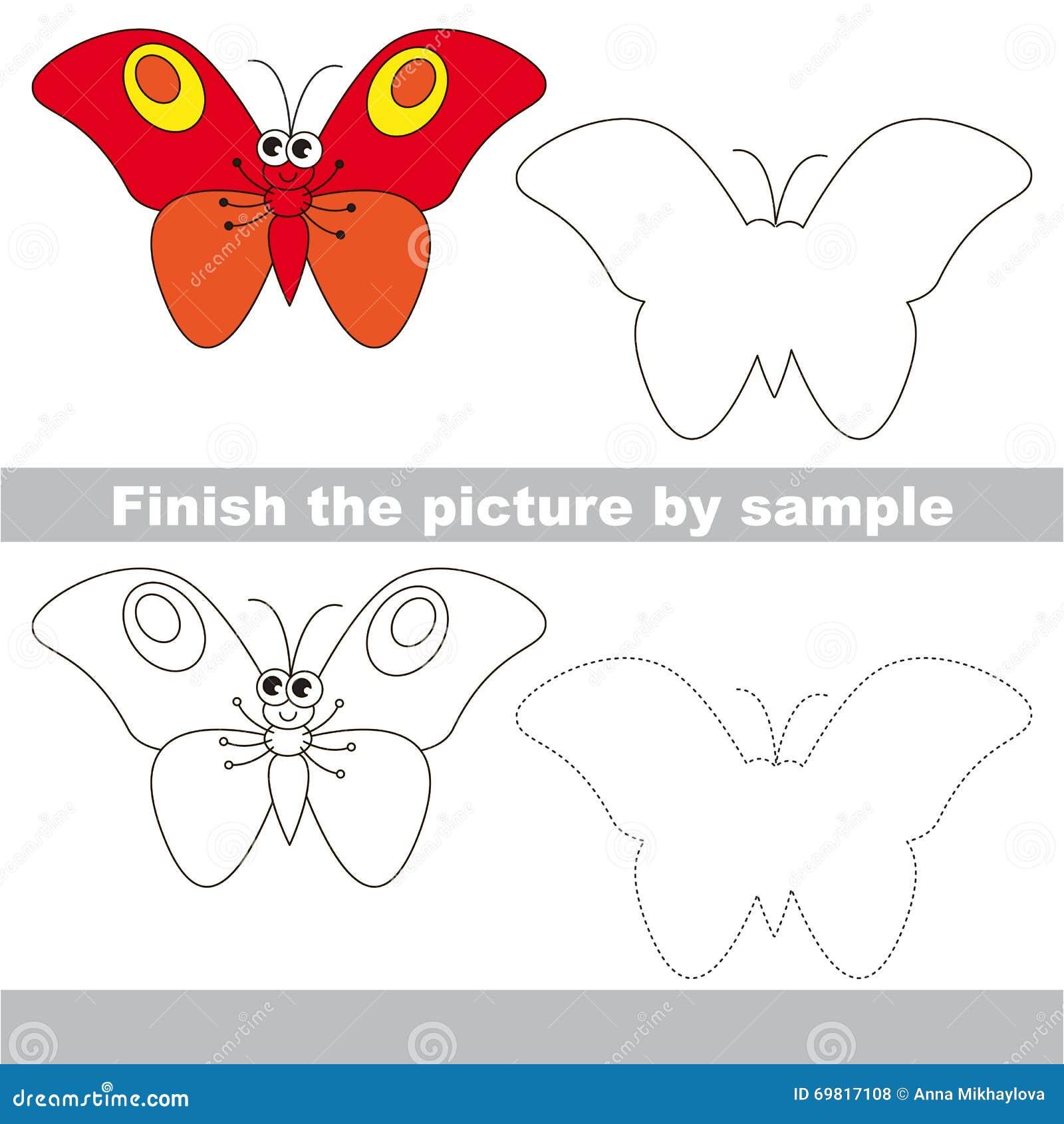 Mariposa Roja Hoja De Trabajo Del Dibujo Ilustración del Vector ...