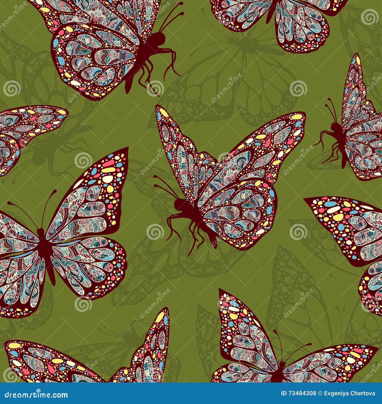 83872395d Mariposas Con El Ornamento Oriental Multicolor En El Boho Del Estilo ...