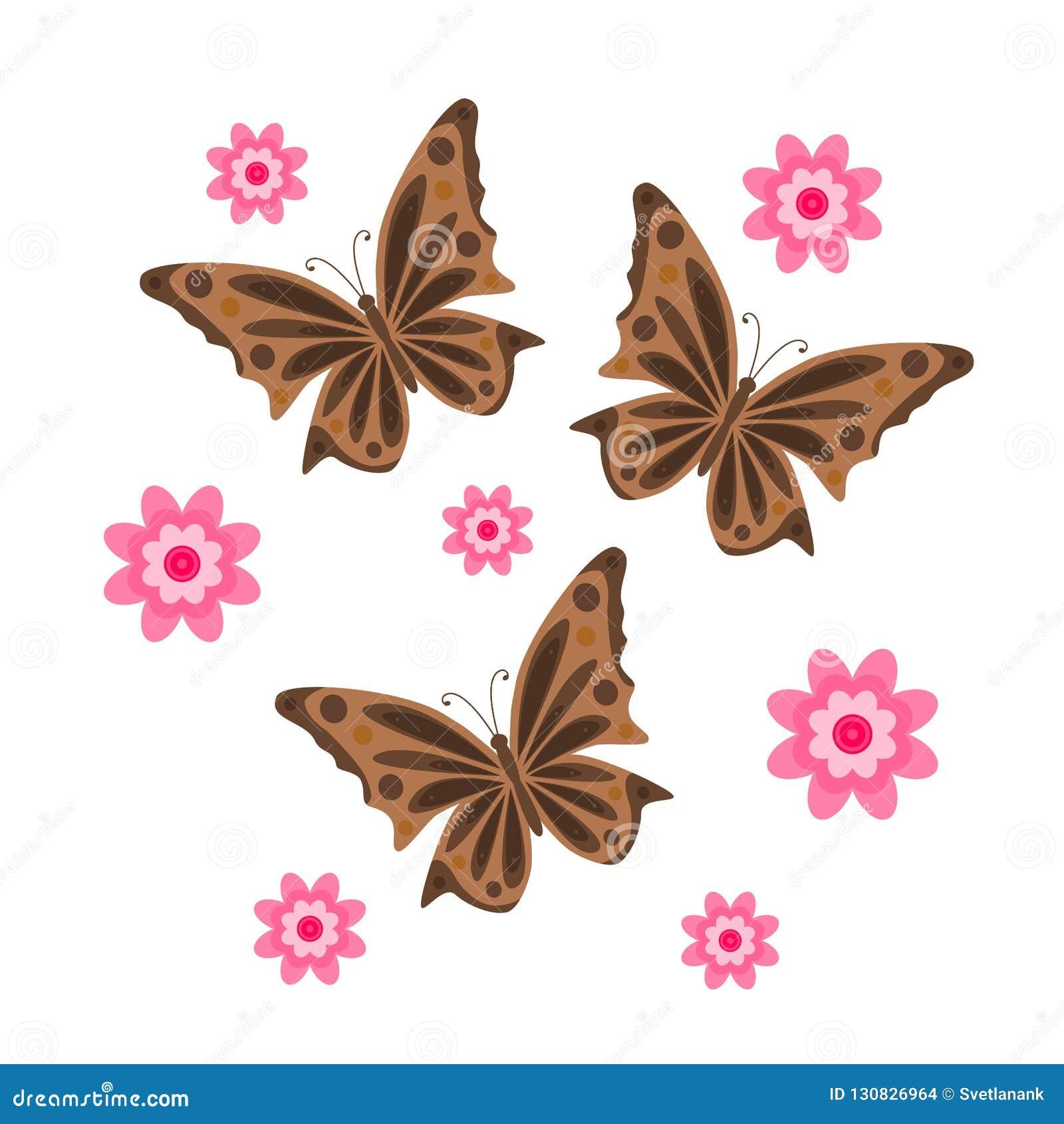 Mariposas De Dibujo Con Las Flores Vector Ilustración Del Vector