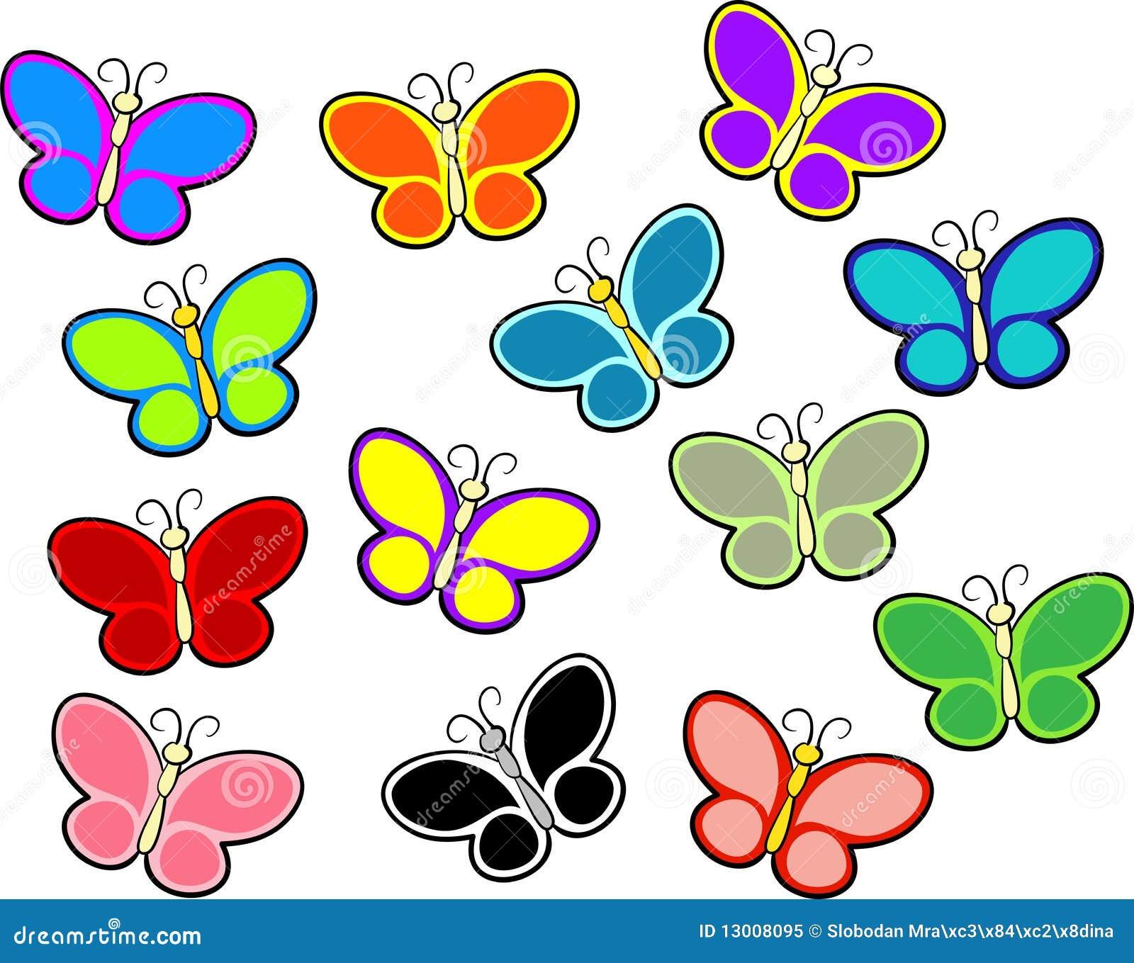Mariposas del color stock de ilustración. Ilustración de rojo - 13008095