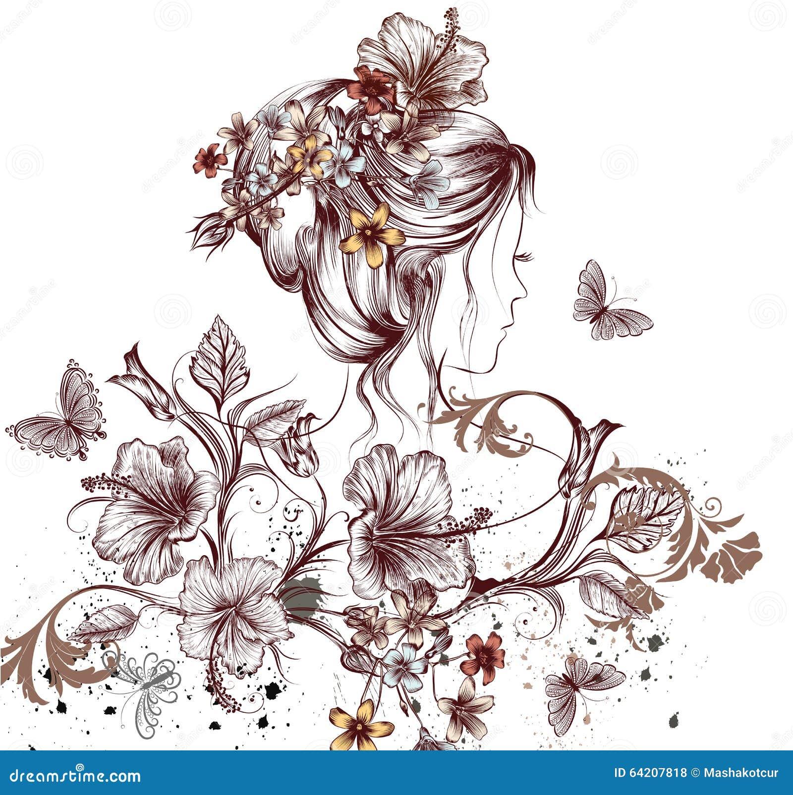 Mariposas hermosas de la mujer y flores de hadas jovenes del hibisco sy