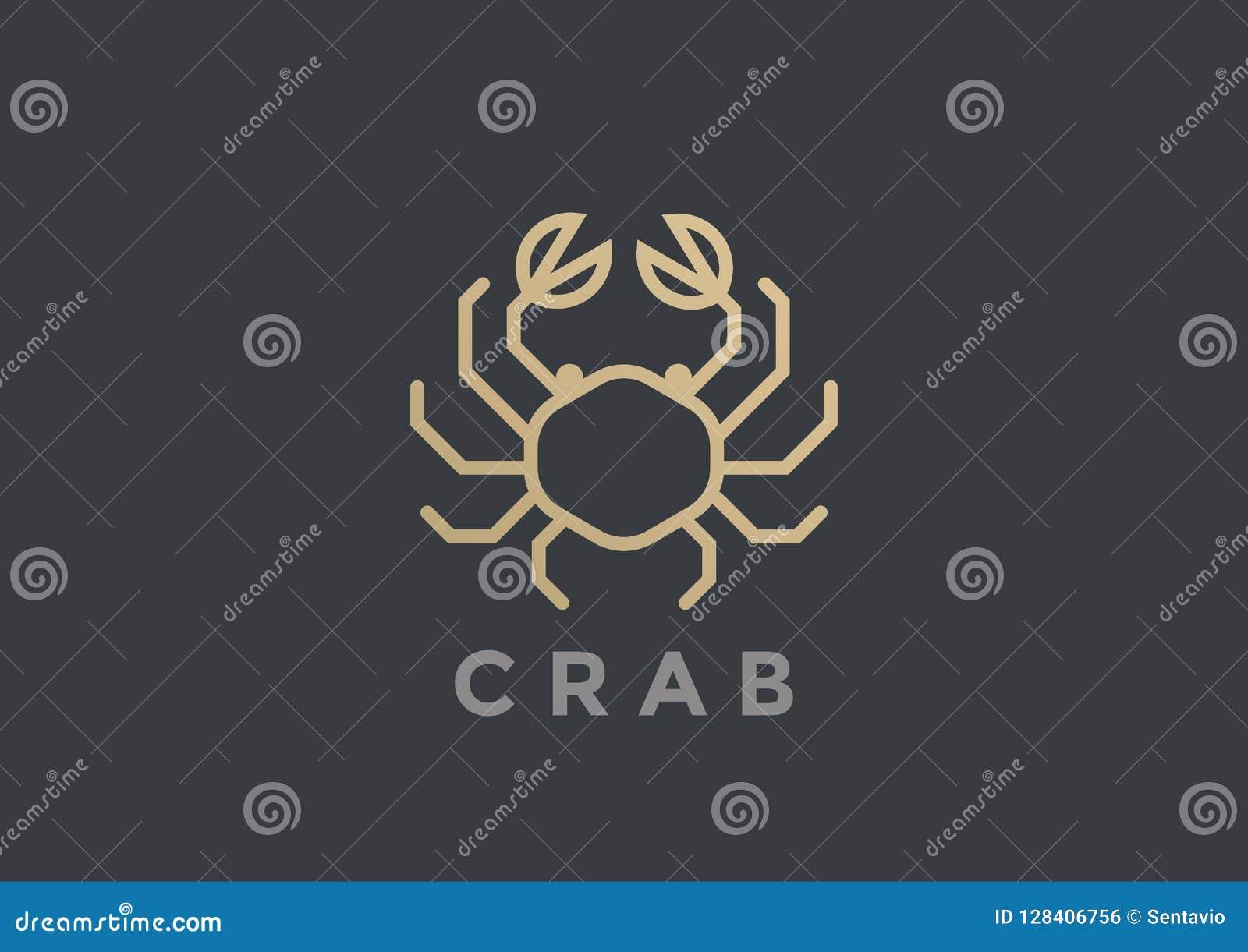 Marisco linear geométrico R do projeto do vetor do logotipo do caranguejo