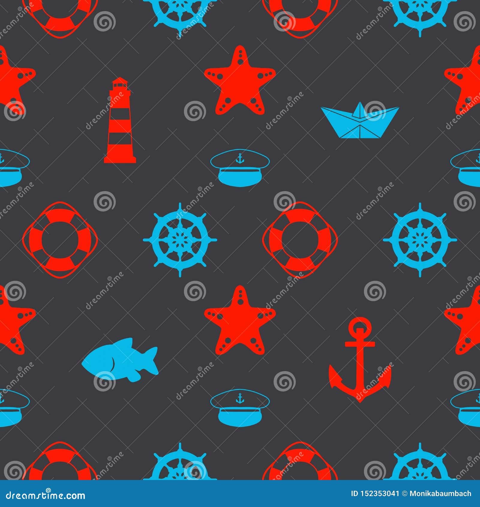 Maritim sömlös modell med röda och blåa nautiska symboler som pappers- skepp, sjömanhatten, ankaren och sjöstjärna på mörk svart