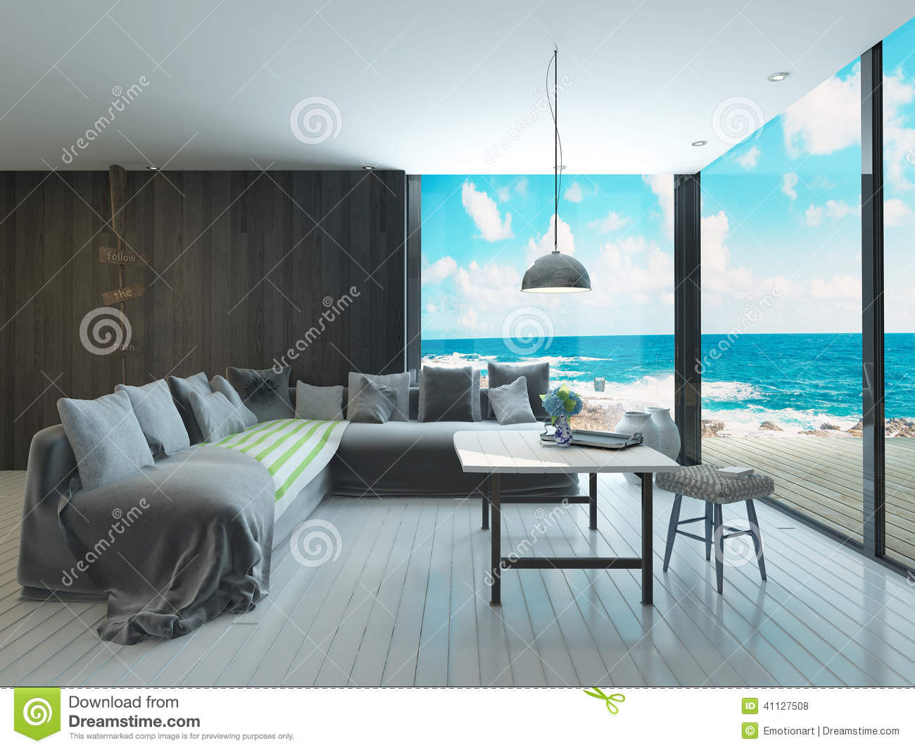 maritime style living room interior with cozy couch and sea view stock illustration image. Black Bedroom Furniture Sets. Home Design Ideas