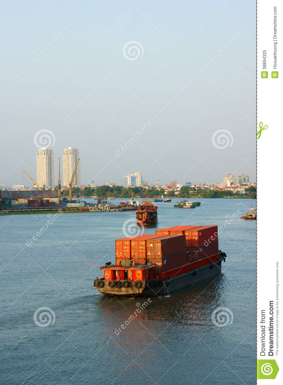 maritime transport by loading container on river editorial image image 38894325. Black Bedroom Furniture Sets. Home Design Ideas