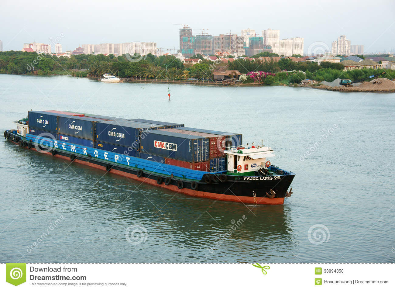 maritime transport by loading container on river editorial image image 38894350. Black Bedroom Furniture Sets. Home Design Ideas