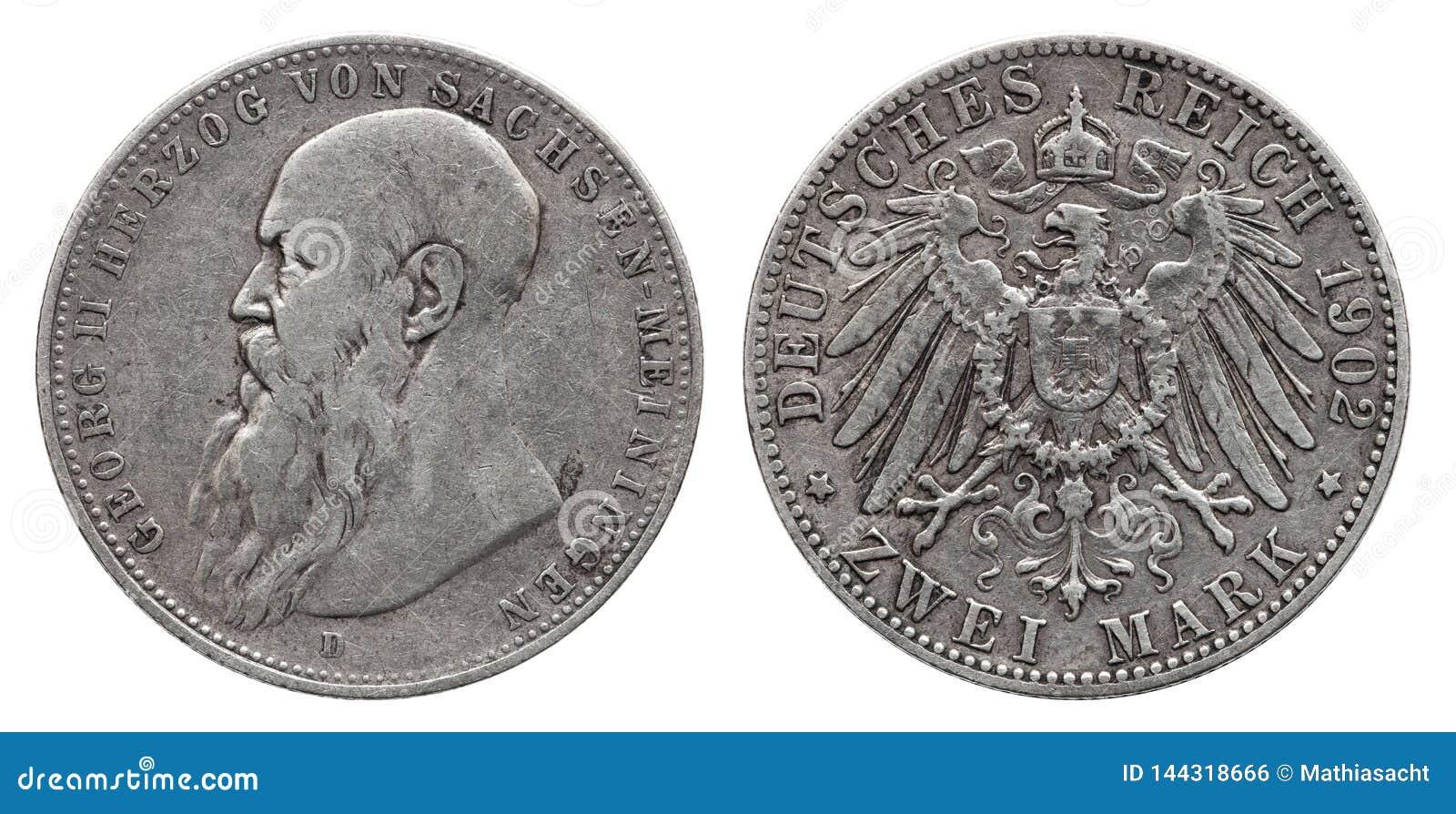 Mark deux 1902 allemand de la pièce en argent 2 de l Allemagne Saxe Meiningen