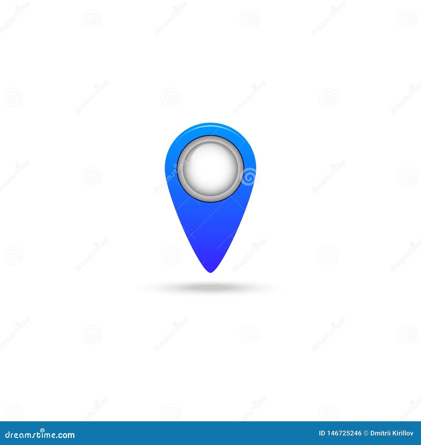Mark no ícone do mapa isolado no fundo branco