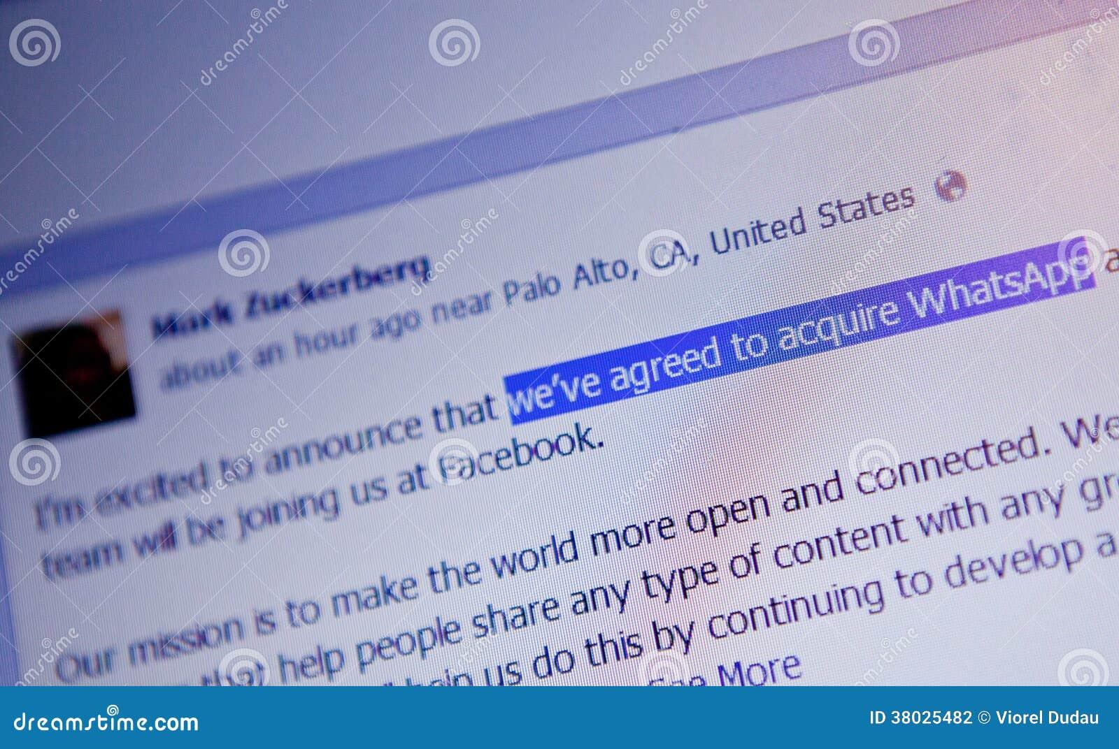Mark Zuckerberg WhatsApp acquisition announcement