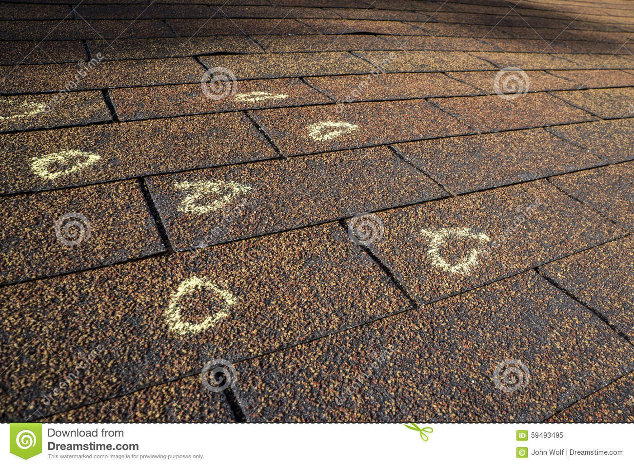 Marked Hail Damage On A Roof Stock Image