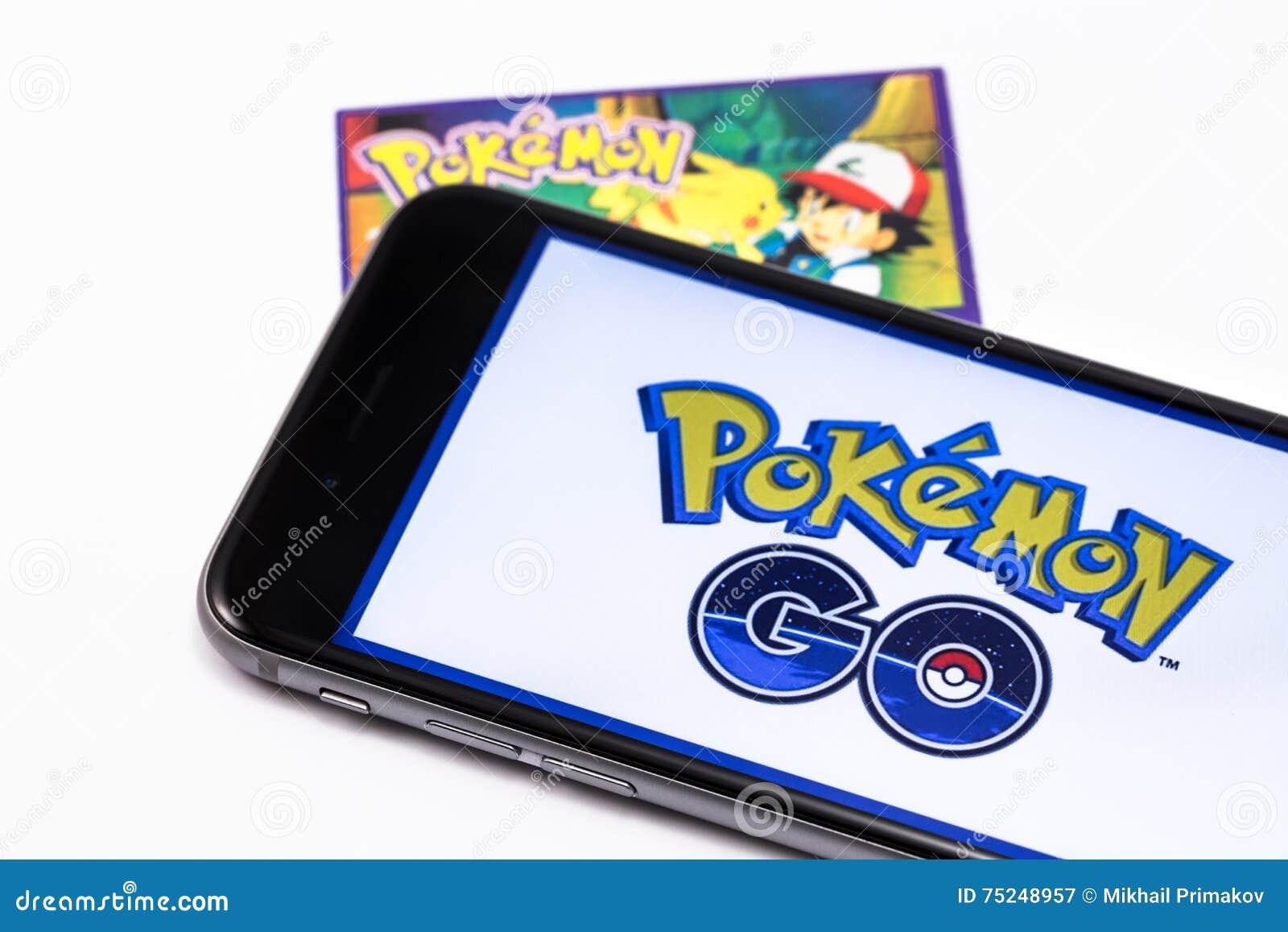 Marken-gehen schwarzes Apple-iPhone 6s und Pokemon auf den Schirm Pokemo