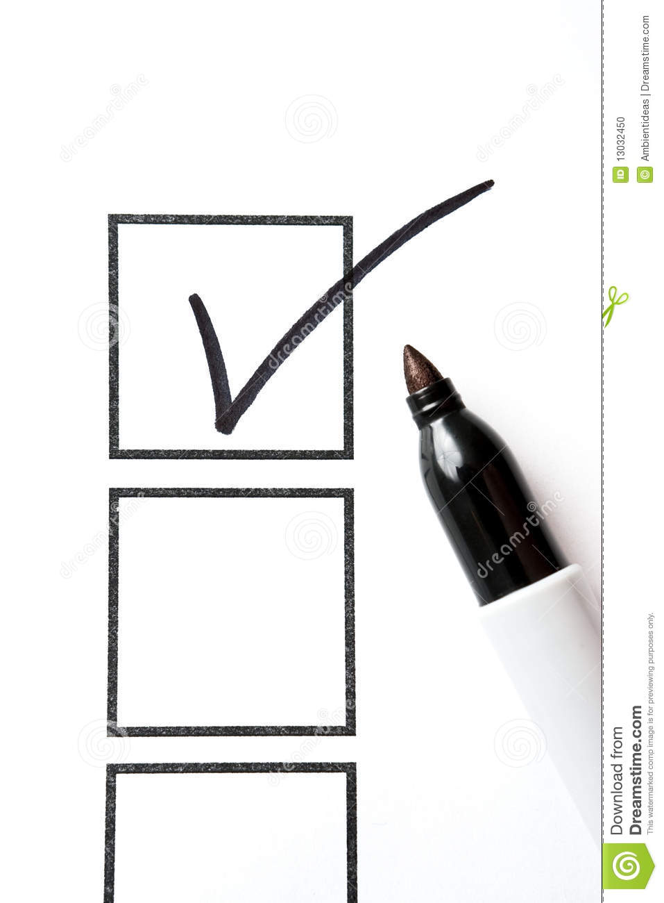Box Stock Project >> Marker With Check Mark And Box Stock Photo - Image: 13032450