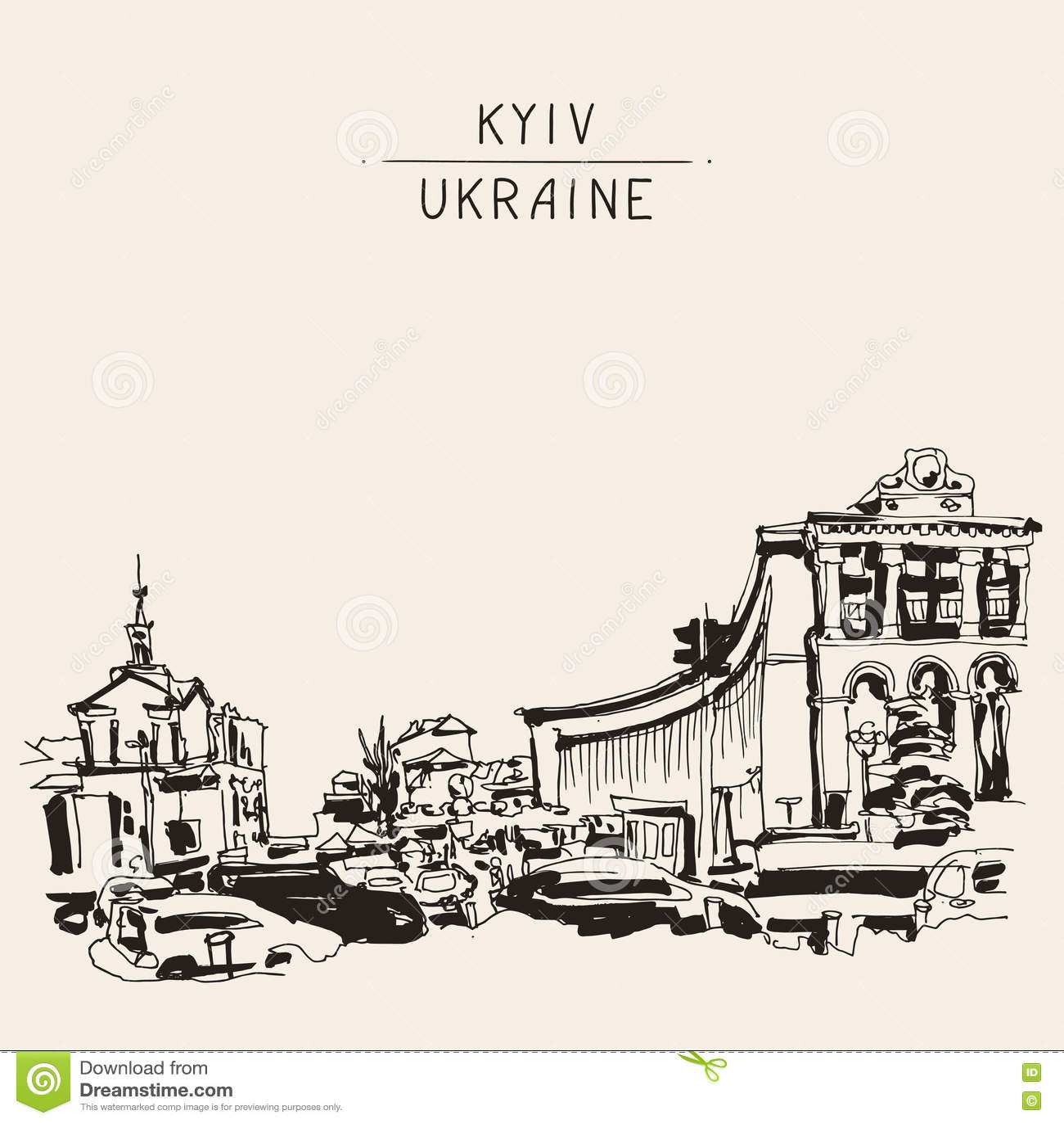 Marker drawing of Khreshchatyk the main street of the Ukrainian