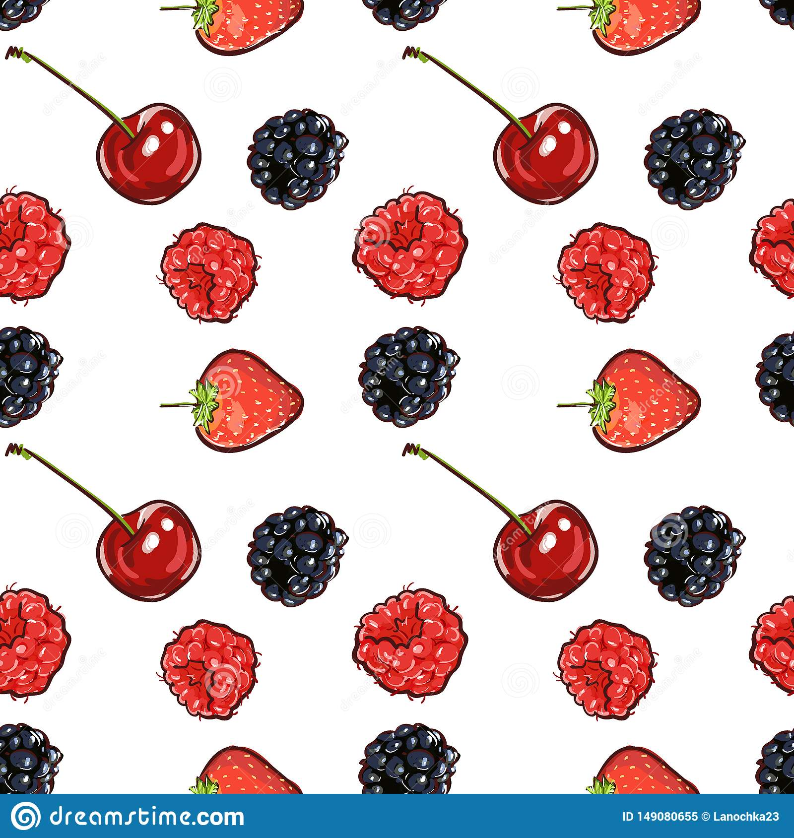 Marker Hand drawn isolated seamless pattern berries banner. Sketched marker food vector. colorful Raspberry, strawberry, cherry