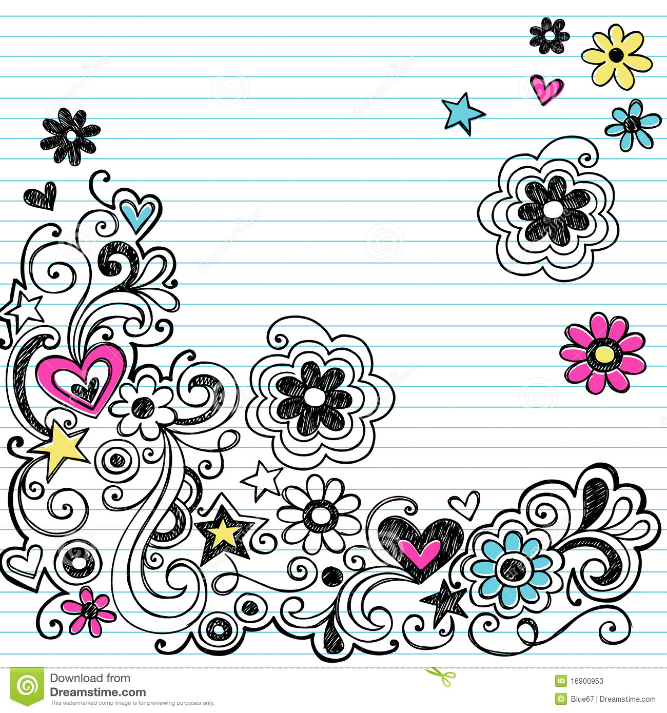 Hand drawn Marker Ink Notebook Doodles Border With Flowers And Swirls