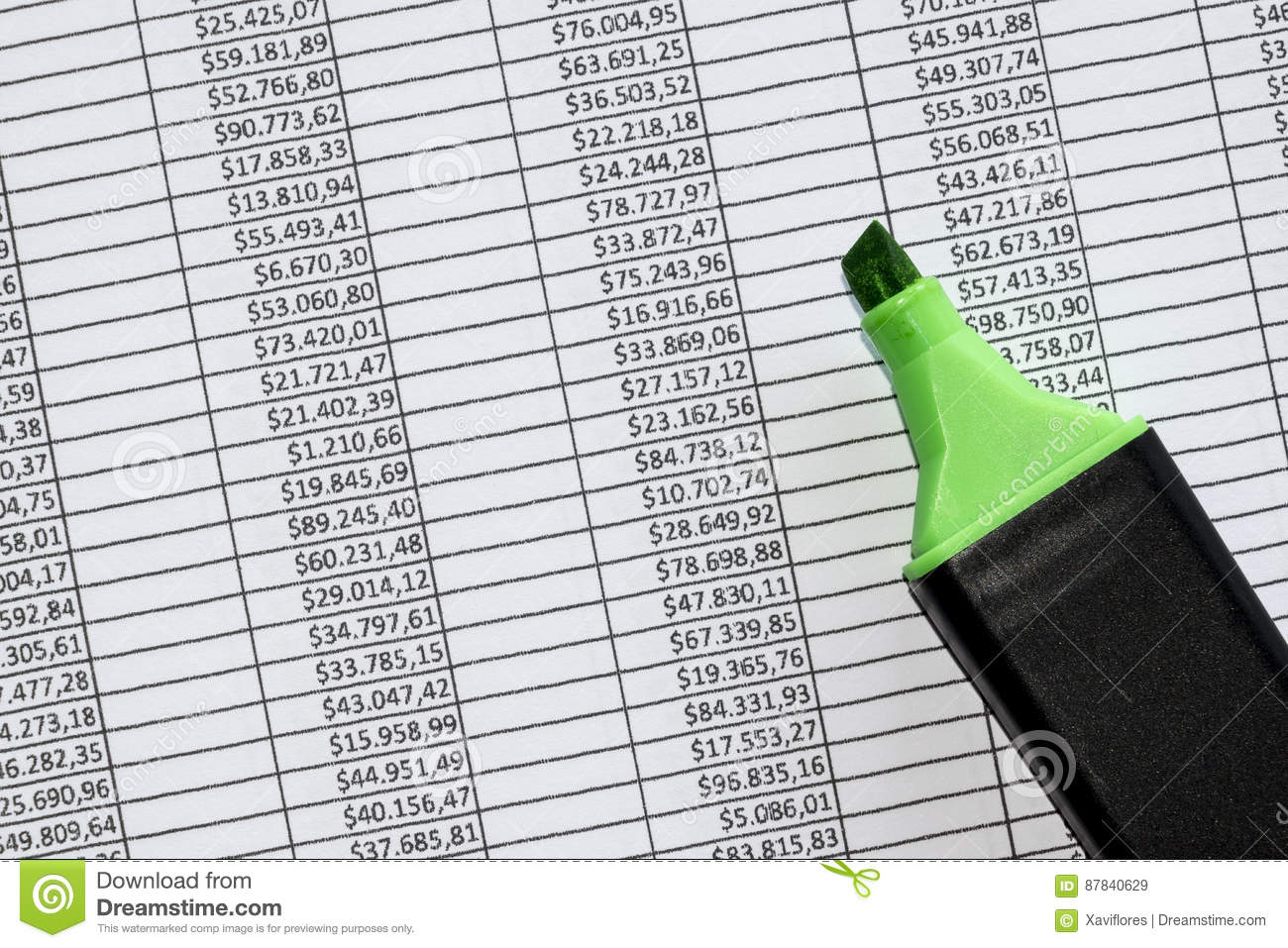 Marker over a excel spreadsheet with figures in us dollars stock download marker over a excel spreadsheet with figures in us dollars stock image image of ccuart Gallery