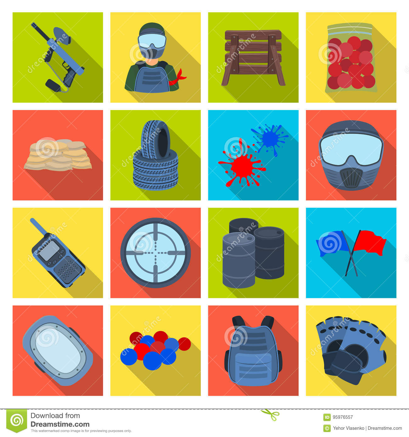 Marker for paintball, equipment, balls and other accessories for the game. Paintball single icon in flat style vector