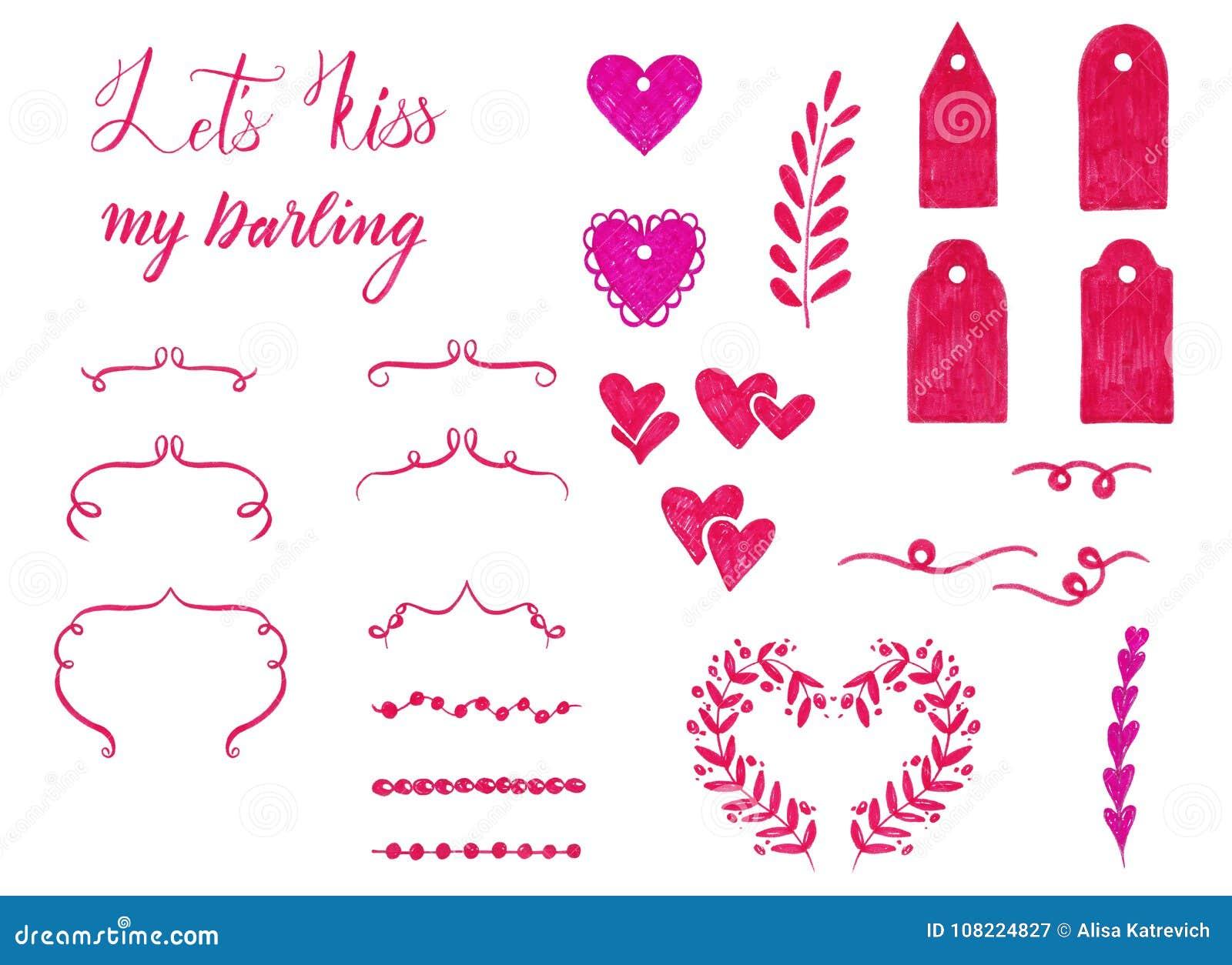 Marker Set Of Valentine Day Elements For Design Ornamental Frame