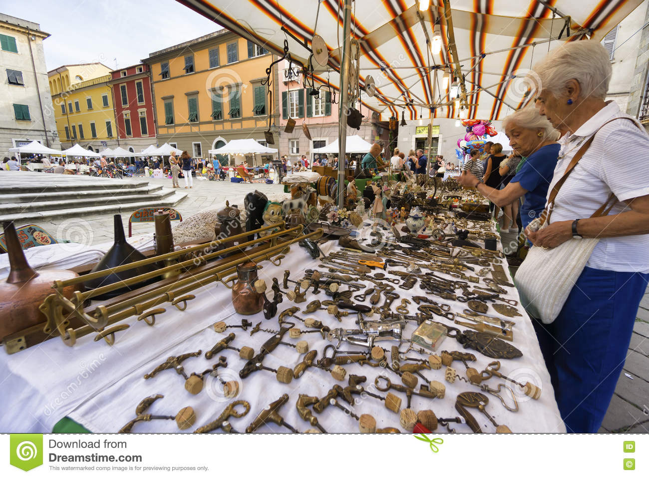 Market of antique and vintage objects in Sarzana, Liguria, Italy