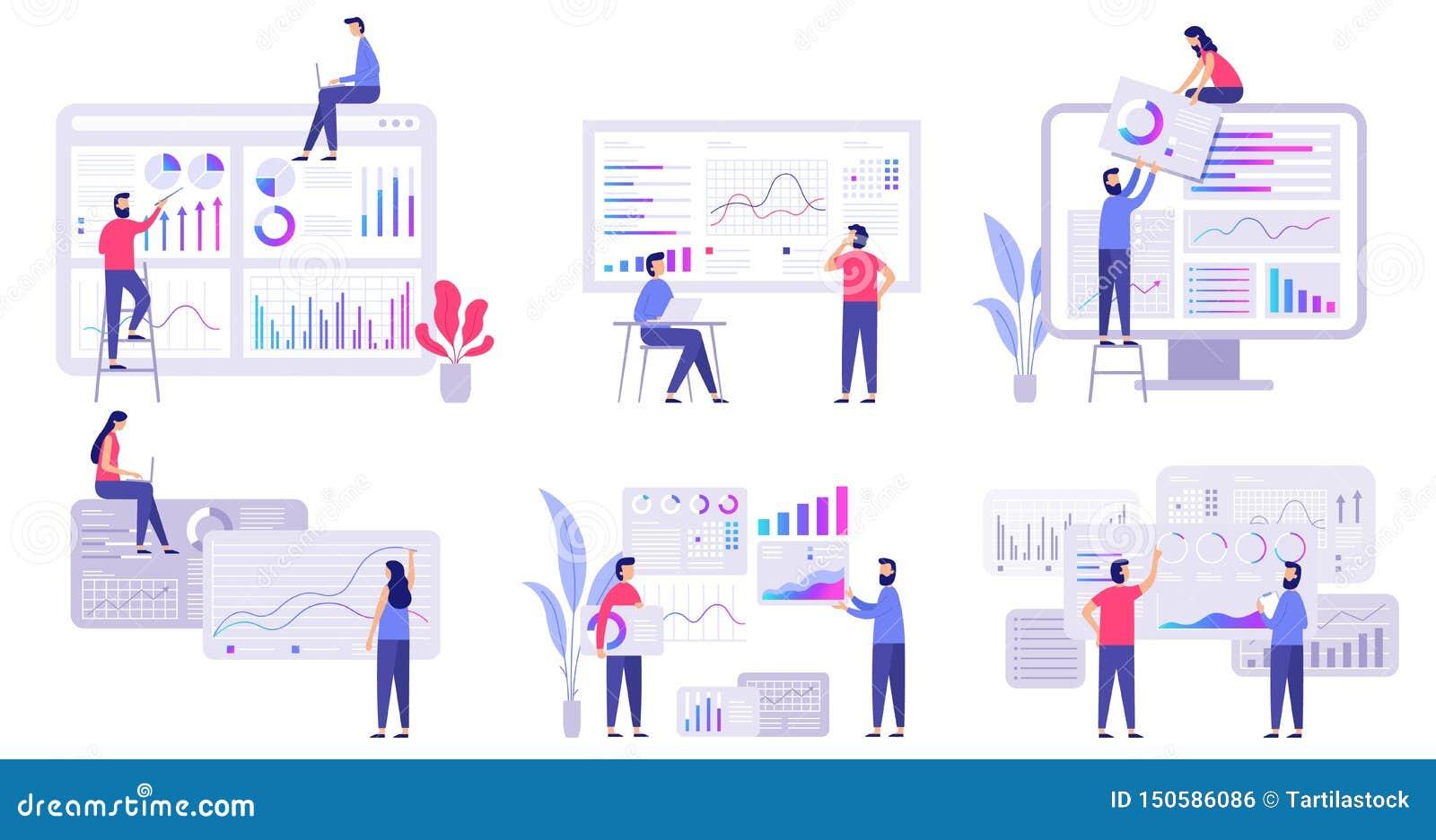 Market forecast. Trends analytics, business marketing strategy and market forecasting flat vector illustration set