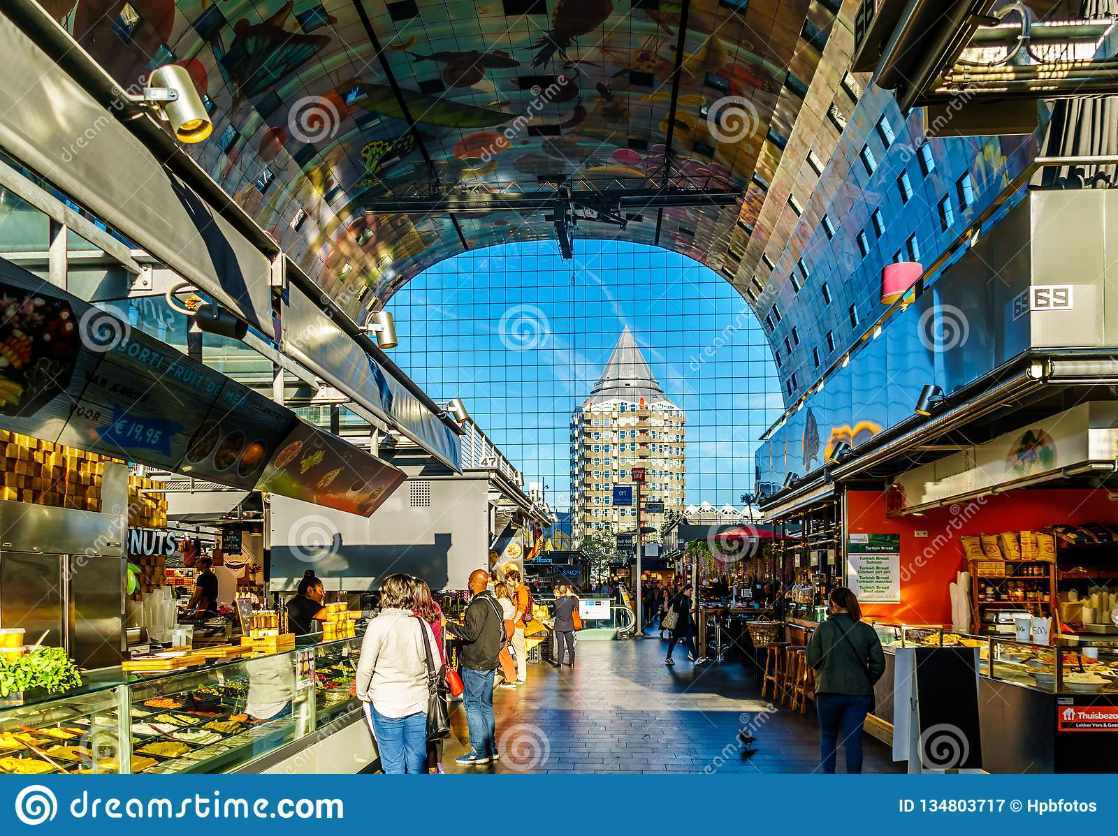 The Market Hall, With Its Many Shops In Rotterdam, Holland