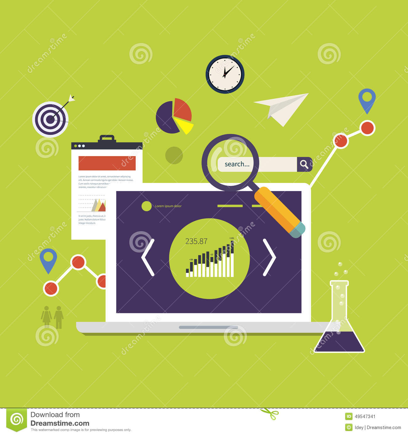 Jones Design Company Wallpaper : Market research icons stock vector image