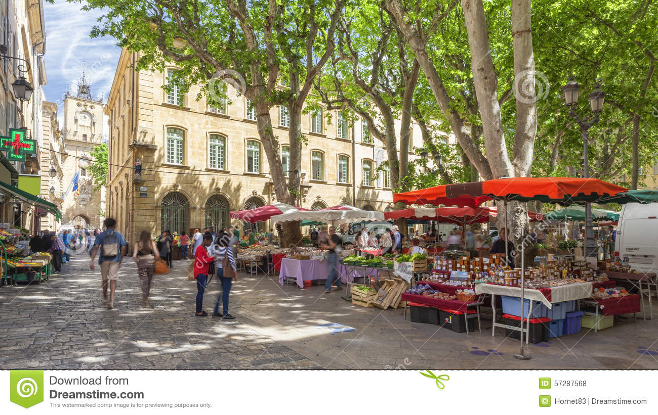 market on a square in aix en provence editorial stock photo image 57287568. Black Bedroom Furniture Sets. Home Design Ideas