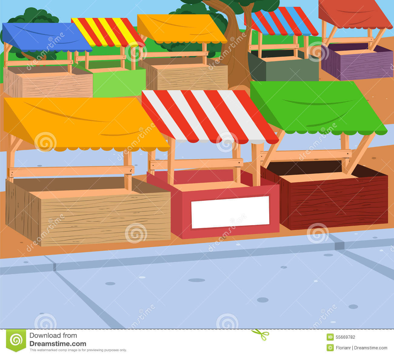 Market Stall Stock Vector - Image: 55669782