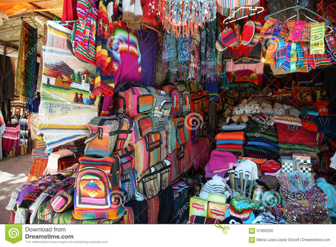 Market Stall With Colorful Indigenous Clothes, Argentina ...