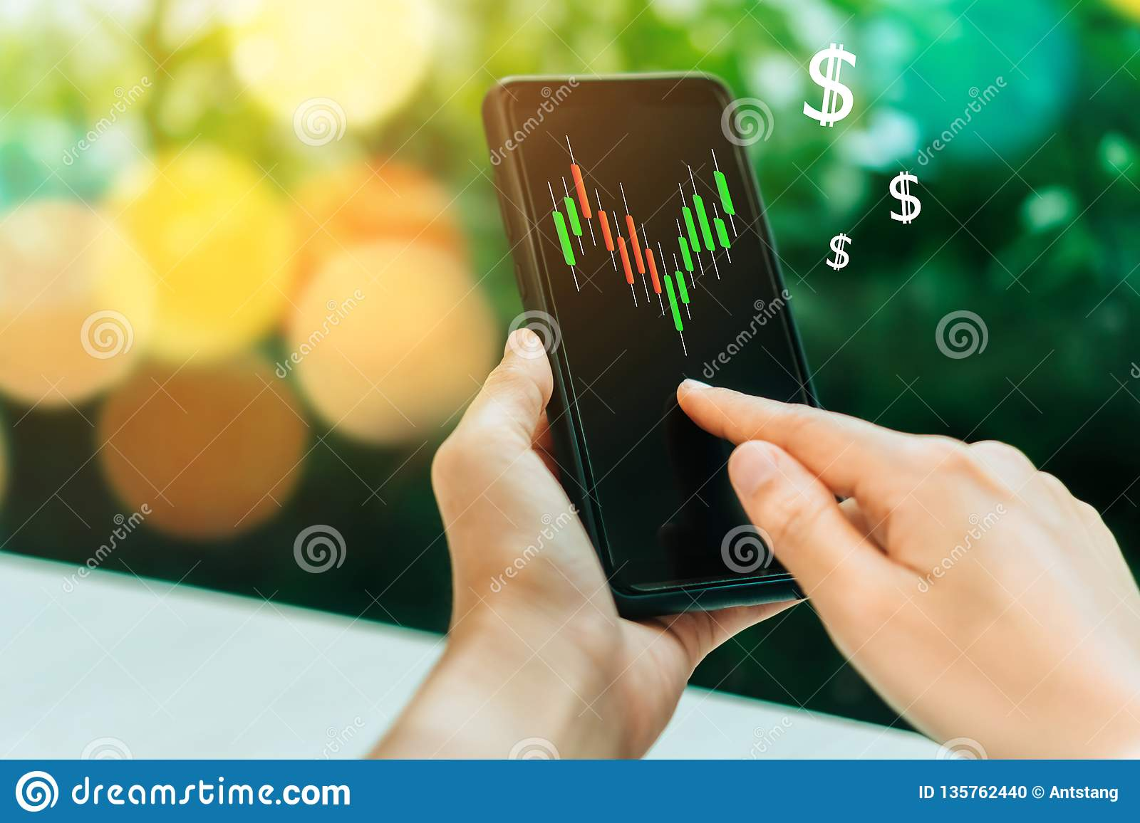 Market stock graph icon screen of smartphone background. Financial business technology freedom dream life using internet freedom