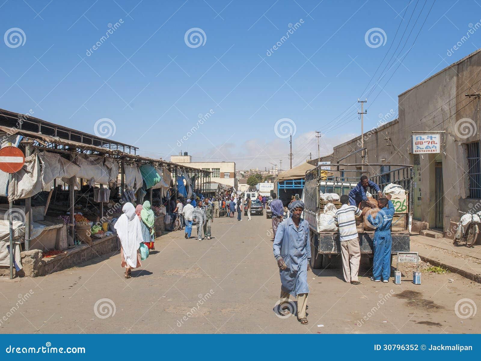 market street in asmara eritrea editorial photography image of