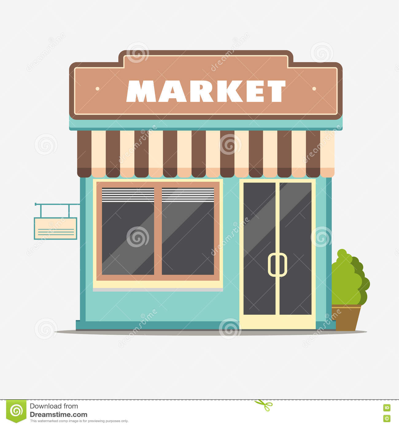 Market street shop small store front stock vector for Store building design