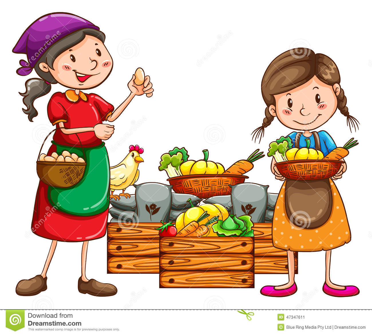 Market Vendors Selling The Fresh Harvests Stock Vector - Image ...